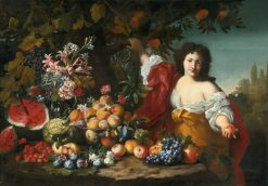 Still-Life of Fruits and Flowers with a Figure | Abraham Brueghel | Oil Painting