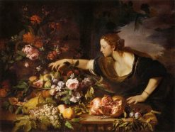 Woman Grasping Fruit | Abraham Brueghel | Oil Painting