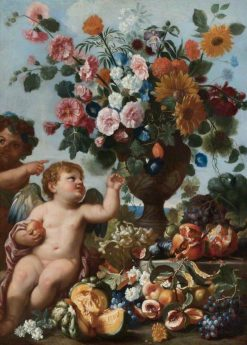 Putti with Fruit and an Urn of Flowers | Abraham Brueghel | Oil Painting