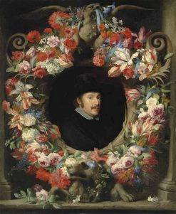 Sculptural Cartouche with Garland   Abraham Brueghel   Oil Painting