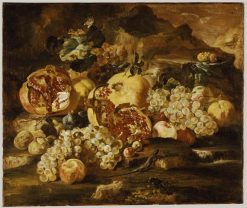 Pomegranates and Other Fruit in a Landscape   Abraham Brueghel   Oil Painting