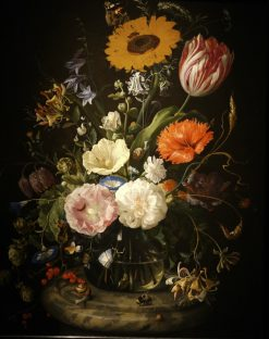 Flowers in a Glass Bottle on a Marble Plinth | Jan Davidsz. de Heem | Oil Painting