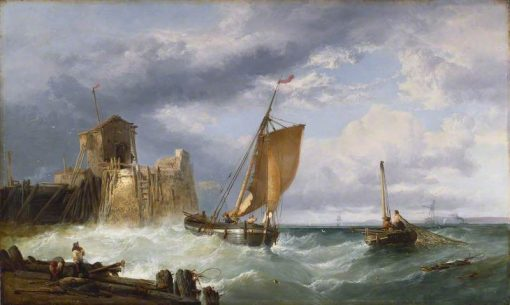 Fishing on a Squally Day | James Webb | Oil Painting