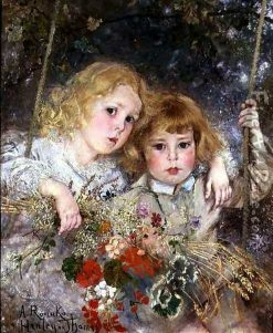 Portrait of Ernest and Beatrice Makins on a Swing | Anton Romako | Oil Painting