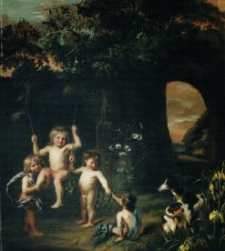 Children playing with a swing in a classical garden setting | Nicolaes Maes | Oil Painting