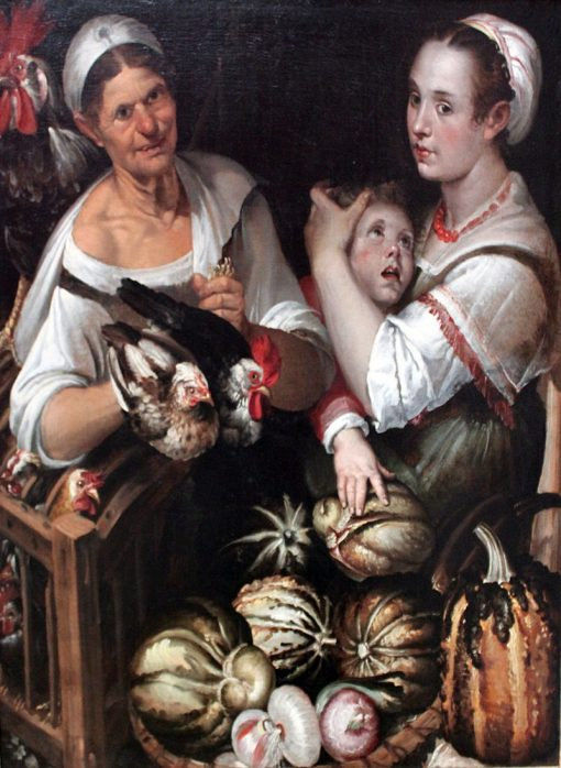 Market Women and Boy   Bartolomeo Passarotti   Oil Painting