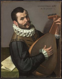 Portrait of a Man Playing a Lute | Bartolomeo Passarotti | Oil Painting