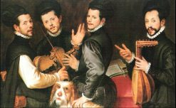 Portrait of the Four Monaldini Brothers | Bartolomeo Passarotti | Oil Painting