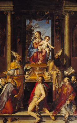 Madonna and Child Enthroned with Saints | Bartolomeo Passarotti | Oil Painting