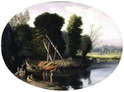 Italianate River Landscape   Pietro Paolo Bonzi   Oil Painting