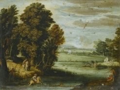 Landscape with a Hunt   Pietro Paolo Bonzi   Oil Painting