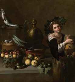 Still-Life with a Young Boy as Bacchus   Pietro Paolo Bonzi   Oil Painting