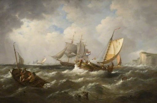 Seascape with French Shipping | James Webb | Oil Painting