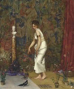 Girl in a white Roman dress feeding two birds | Adolphe Alexander Lesrel | Oil Painting