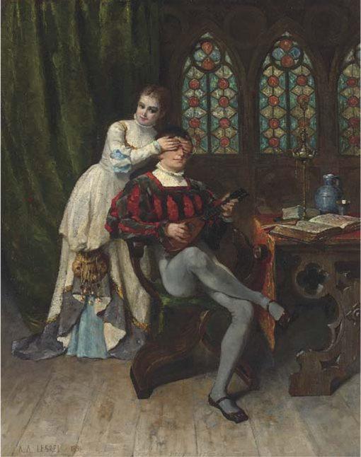 Surprise   Adolphe Alexander Lesrel   Oil Painting