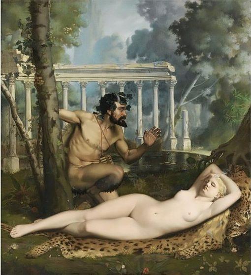 Pan and Venus | Adolphe Alexander Lesrel | Oil Painting