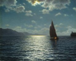 Moonrise over Lake Leman | Ivan Fedorovich Choultse | Oil Painting