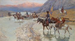 Cossacks Crossing the River | Franc Alekseevi? Rubo | Oil Painting