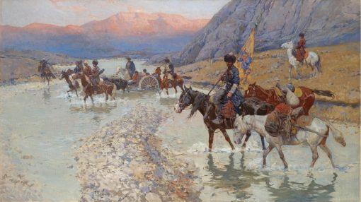 Cossacks Crossing the River | Franc Alekseevi? Rubo | Oil Painting