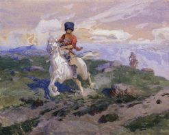 Cossack Riding a White Horse | Franc Alekseevi? Rubo | Oil Painting