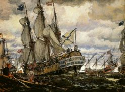Ships of the Times of Peter I | Evgeny Lanceray | Oil Painting