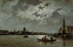 A View of St. Petersburg at Night | Alexander Beggrov | Oil Painting