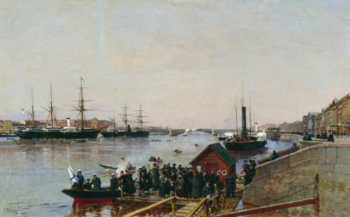 Pier on the Neva   Alexander Beggrov   Oil Painting