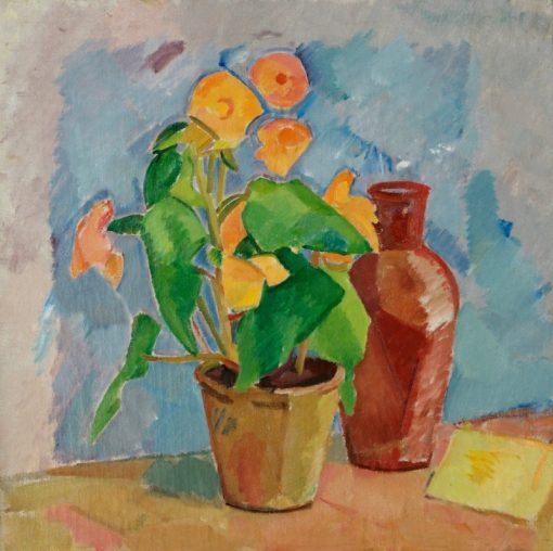 Still Life with Yellow Begonia and Brown Jug | Karl Isakson | Oil Painting