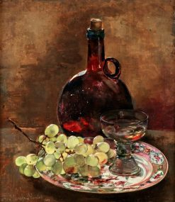 Still-Life with Grapes and Glass Bottle | Anna Munthe-Norstedt | Oil Painting