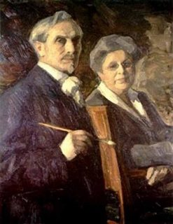 Self Portrait with Wife | Leonid Osipovich Pasternak | Oil Painting