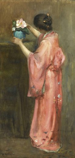 A Girl in Kimono Arranging Flowers | Floris Arntzenius | Oil Painting