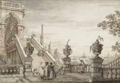 A capriccio with a monumental staircase | Canaletto | Oil Painting