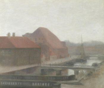 View of Frederiksholm Canal   Vilhelm Hammershøi   Oil Painting