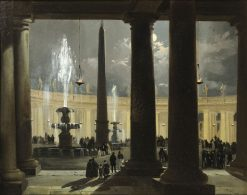 St. Peters Square in Rome at Moonlight | Ippolito Caffi | Oil Painting