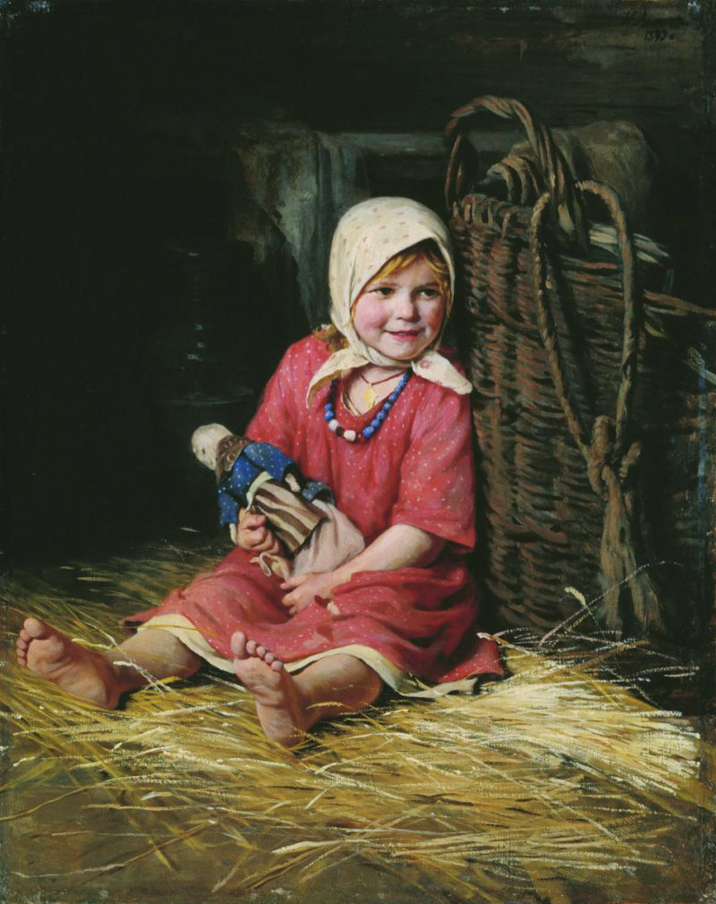 Girl with a Doll | Karl Lemokh | Oil Painting