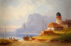 Coastal scene with fishing village   Colestin Brugner   Oil Painting