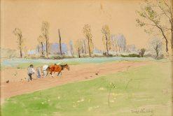 Ploughing | Hugo Muhlig | Oil Painting