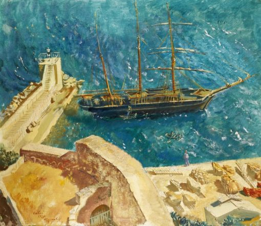 View of the Port in Calvi   Alexander Evgenievich Yakovlev   Oil Painting