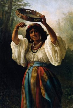 Gypsy with a Tambourine | Khariton Platonov | Oil Painting