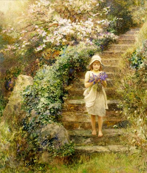 A young girl carrying violets | Arthur Hopkins | Oil Painting