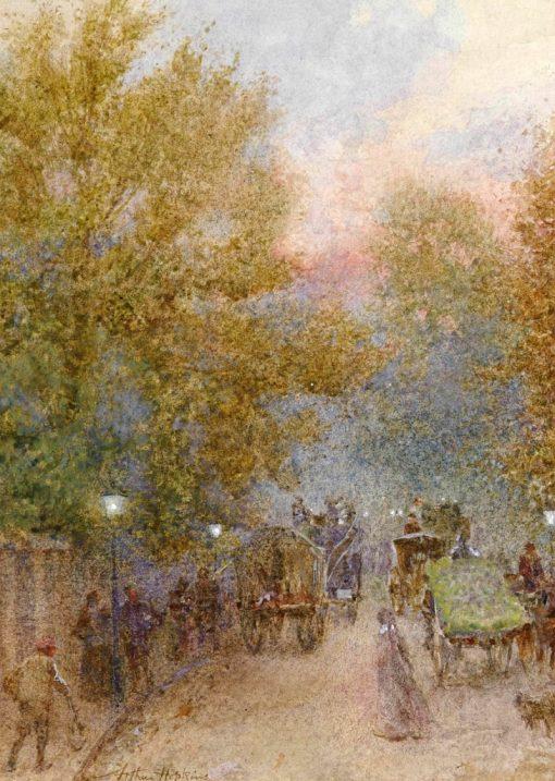 An autumn evening on the Marylebone Road | Arthur Hopkins | Oil Painting