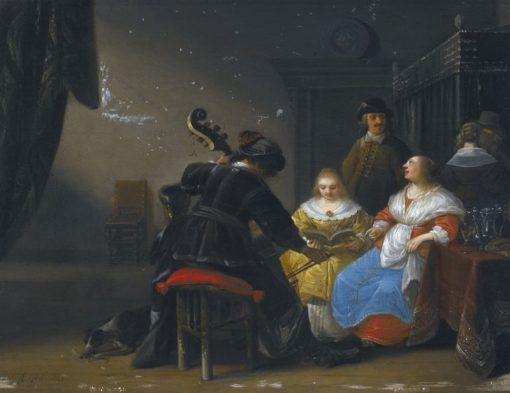 An Interior Scene With Two Ladies Singing