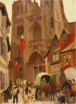 La cathedrale Saint-Vulfran a Abbeville   Jules-Emile Zingg   Oil Painting