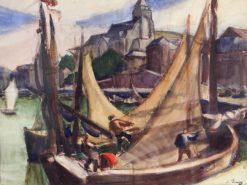 Le mouillage au Treport   Jules-Emile Zingg   Oil Painting