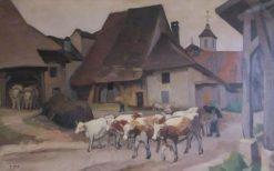 Les Boeufs   Jules-Emile Zingg   Oil Painting