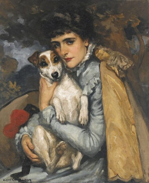 Jeanne with her Terrier   Rupert Bunny   Oil Painting
