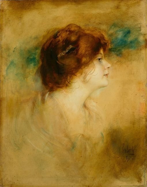 Red-headed woman in profile | Franz von Lenbach | Oil Painting
