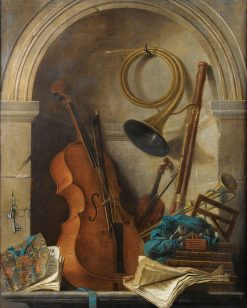Still life in trompe lœil with musical instruments and the book of Castor and Pollux | Nicolas Henri Jeaurat de Bertry | Oil Painting