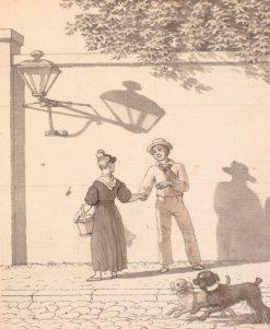 Sailor Taking Leave of His Girlfriend (study)   Christoffer Wilhelm Eckersberg   Oil Painting