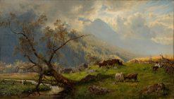 Shepherd in the Alps | Hjalmar Munsterhjelm | Oil Painting